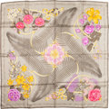 "Luxury Accessories:Accessories, Hermes Silver, Pink & Purple ""Fleurs d'Opera,"" by Julia AbadieSilk Scarf. ..."