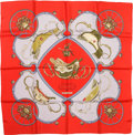"Luxury Accessories:Accessories, Hermes Red & Gray ""Springs,"" by Philippe Ledoux Silk Scarf. ..."