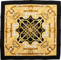 "Luxury Accessories:Accessories, Hermes Black & Gold ""Eperon d'Or,"" by Henri d'Origny SilkScarf. ..."