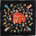 "Luxury Accessories:Accessories, Hermes Red & Black ""Paris Modiste,"" by Hugo Grygkar Silk Scarf...."