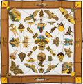 "Luxury Accessories:Accessories, Hermes Gold & White ""Soies Volantes,"" by Loic Dubigeon SilkScarf. ..."