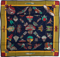 "Luxury Accessories:Accessories, Hermes Navy & Olive ""Soies Volantes,"" by Loic Dubigeon SilkScarf. ..."