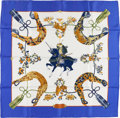 """Luxury Accessories:Accessories, Hermes Blue, White & Gold """"Samourai,"""" by Zoe Pauwels SilkScarf. ..."""