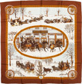 "Luxury Accessories:Accessories, Hermes Brown & Gold ""L'Hiver en Poste,"" by Philippe Ledoux SilkScarf. ..."