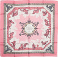 "Luxury Accessories:Accessories, Hermes Pink & White ""Courbettes et Cabrioles,"" by FrancoiseFaconnet Silk Scarf. ..."