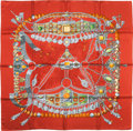 "Luxury Accessories:Accessories, Hermes Red & Silver ""Terres Precieuses,"" by Annie Faivre Silk Scarf. ..."