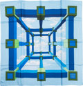 """Luxury Accessories:Accessories, Hermes Blue & Green """"Perspective,"""" by A.M. Cassandre SilkScarf. ..."""