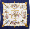 "Luxury Accessories:Accessories, Hermes Navy & White ""Les Chevaux des Moghols,"" by Jean deFougerolle Silk Scarf. ..."