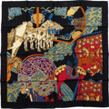 "Luxury Accessories:Accessories, Hermes Black, Red & White ""Art des Steppes,"" by Annie FaivreSilk Scarf. ..."