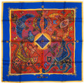 "Luxury Accessories:Accessories, Hermes Blue & Red ""Legende Kuna Peuple de Panama,"" by ZoePauwels Silk Scarf. ..."