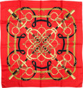 """Luxury Accessories:Accessories, Hermes Red, Black & Gold """"Eperon d'Or,"""" by Henri d'Origny SilkScarf. ..."""