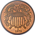 Two Cent Pieces, 1872 2C MS65 Red and Brown PCGS. CAC....