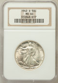 Walking Liberty Half Dollars: , 1942-S 50C MS64 NGC. NGC Census: (2146/1326). PCGS Population(3399/2662). Mintage: 12,708,000. Numismedia Wsl. Price for p...