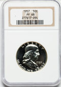 Proof Franklin Half Dollars: , 1957 50C PR68 NGC. NGC Census: (1870/171). PCGS Population(455/11). Mintage: 1,247,952. Numismedia Wsl. Price for problem ...