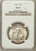 Walking Liberty Half Dollars: , 1946-D 50C MS64 NGC. NGC Census: (3059/8627). PCGS Population(6237/10872). Mintage: 2,151,000. Numismedia Wsl. Price for p...
