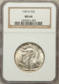 Walking Liberty Half Dollars: , 1945-D 50C MS64 NGC. NGC Census: (1817/6063). PCGS Population(3592/7623). Mintage: 9,966,800. Numismedia Wsl. Price for pr...