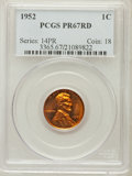 Proof Lincoln Cents: , 1952 1C PR67 Red PCGS. PCGS Population (133/5). NGC Census:(277/91). Mintage: 81,980. Numismedia Wsl. Price for problem fr...