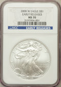 Modern Bullion Coins, 2008-W $1 Silver Dollar Early Releases MS70 NGC. NGC Census:(10552). PCGS Population (947). Numismedia Wsl. Price for pro...