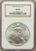 Modern Bullion Coins: , 1996 $1 Silver Eagle MS69 NGC. NGC Census: (84966/128). PCGSPopulation (5065/0). Mintage: 3,603,386. Numismedia Wsl. Price...
