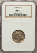 Buffalo Nickels: , 1934-D 5C MS62 NGC. NGC Census: (81/981). PCGS Population(86/1819). Mintage: 7,480,000. Numismedia Wsl. Price for problem...