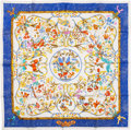 "Luxury Accessories:Accessories, Hermes Blue, White & Gold ""Pierres d'Orient et d'Occident,"" byZoe Pauwels Silk Scarf. ..."