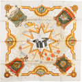 "Luxury Accessories:Accessories, Hermes White, Orange & Tan ""La Magie,"" by Claudia Mayr SilkScarf. ..."