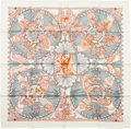"Luxury Accessories:Accessories, Hermes Teal & Orange ""Les Chants du Henne,"" LaurenceBourthoumieux Silk Scarf. ..."