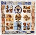 "Luxury Accessories:Accessories, Hermes White, Tan & Blue ""Persona,"" by Loic Dubigeon SilkScarf. ..."