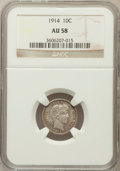 Barber Dimes: , 1914 10C AU58 NGC. NGC Census: (44/675). PCGS Population (48/816).Mintage: 17,360,656. Numismedia Wsl. Price for problem f...