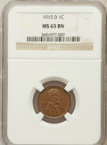 Lincoln Cents: , 1915-D 1C MS63 Brown NGC. NGC Census: (74/137). PCGS Population(74/93). Mintage: 22,050,000. Numismedia Wsl. Price for pro...