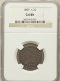 1809 1/2 C Good 6 NGC. NGC Census: (7/302). PCGS Population (4/280). Mintage: 1,154,572. Numismedia Wsl. Price for probl...