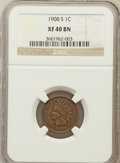 Indian Cents: , 1908-S 1C XF40 NGC. NGC Census: (160/770). PCGS Population(272/851). Mintage: 1,115,000. Numismedia Wsl. Price for problem...