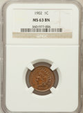 Indian Cents: , 1902 1C MS63 Brown NGC. NGC Census: (84/200). PCGS Population(62/79). Mintage: 87,376,720. Numismedia Wsl. Price for probl...