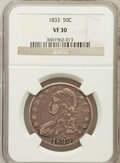 Bust Half Dollars: , 1833 50C VF30 NGC. NGC Census: (34/1277). PCGS Population(53/1414). Mintage: 5,206,000. Numismedia Wsl. Price for problem...