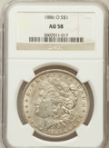 Morgan Dollars: , 1886-O $1 AU58 NGC. NGC Census: (1280/1522). PCGS Population(880/1934). Mintage: 10,710,000. Numismedia Wsl. Price for pro...