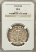 Walking Liberty Half Dollars: , 1933-S 50C XF40 NGC. NGC Census: (15/836). PCGS Population(30/1388). Mintage: 1,786,000. Numismedia Wsl. Price for problem...