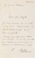 Autographs:Artists, Auguste Rodin Letter Signed...