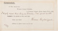 Autographs:Celebrities, Florence Nightingale Secretarial Signature....