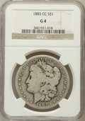 Morgan Dollars: , 1883-CC $1 Good 4 NGC. NGC Census: (12/17926). PCGS Population (9/36070). Mintage: 1,204,000. Numismedia Wsl. Price for pro...