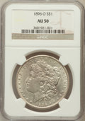 Morgan Dollars: , 1896-O $1 AU50 NGC. NGC Census: (461/4134). PCGS Population(542/3661). Mintage: 4,900,000. Numismedia Wsl. Price for probl...