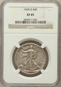 Walking Liberty Half Dollars: , 1929-D 50C XF45 NGC. NGC Census: (26/711). PCGS Population(60/1164). Mintage: 1,001,200. Numismedia Wsl. Price for problem...