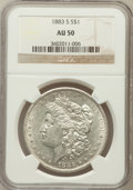 Morgan Dollars: , 1883-S $1 AU50 NGC. NGC Census: (440/3537). PCGS Population(439/4141). Mintage: 6,250,000. Numismedia Wsl. Price for probl...