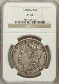 Morgan Dollars: , 1880-CC $1 VF30 NGC. NGC Census: (18/8024). PCGS Population(24/11913). Mintage: 591,000. Numismedia Wsl. Price for problem...