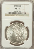 Morgan Dollars: , 1897-S $1 MS63 NGC. NGC Census: (1879/3018). PCGS Population(2793/4141). Mintage: 5,825,000. Numismedia Wsl. Price for pro...