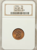 Indian Cents: , 1905 1C MS65 Red and Brown NGC. NGC Census: (143/12). PCGSPopulation (61/0). Mintage: 80,719,160. Numismedia Wsl. Price fo...