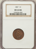 Indian Cents: , 1887 1C MS64 Red and Brown NGC. NGC Census: (122/60). PCGSPopulation (187/29). Mintage: 45,226,484. Numismedia Wsl. Price ...