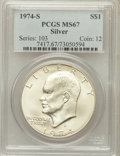 Eisenhower Dollars: , 1974-S $1 Silver MS67 PCGS. PCGS Population (3866/932). NGC Census:(1189/145). Mintage: 1,900,156. Numismedia Wsl. Price f...