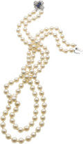Estate Jewelry:Necklaces, Cultured Pearl, Diamond, Sapphire Necklace. ...