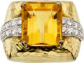 Estate Jewelry:Rings, Citrine, Diamond, Platinum, Gold Ring, David Webb. ...