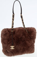 Luxury Accessories:Bags, Chanel Brown Rabbit Fur Shoulder Bag with Leather and Chain Straps....